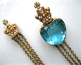 Blue Glass Heart Crown Brooch, Hobe 1960s Swag Twin Pearl Crowns, Long Triple Chains, Valentine Romance Gift
