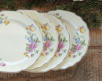 W S George Yellow Floral Bread and Butter Plates Set of 4 Scalloped Dessert Plates Lido Canarytone Wall Decor Tea Party Wedding