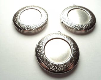 3 pcs - Round 32mm Antique Silver lockets with setting -  m205lso