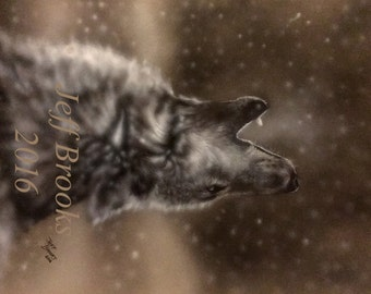Wolf Painting Original Art Wolves Wildlife Winter Snow Howling