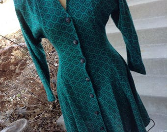 Vintage hipster 80s All That Jazz  swing style dress jewel green with black buttons size small or 7/8 free domestic shipping