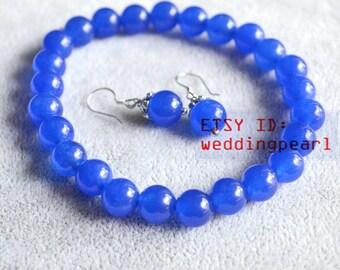 blue jade bracelet and earrings set,8mm blue bead bracelet earrings set,bridemaid jewelry set, pink jade earring set,children jewelry