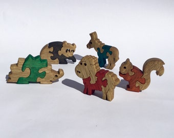 Kids gift, Wooden toys, wood puzzle, Animal games, Wooden puzzles, set of 5, Baby puzzles, jigsaw puzzle, handmade, wood toy, set #2.