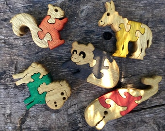 Gift for kids, Wood puzzle, Wooden toys, Animal games, Wooden puzzles, set of 5, Baby puzzles, jigsaw puzzle, handmade, wood toy, set #4.