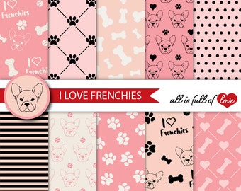 Puppy Digital Paper I Love Frenchies Background French Bulldog Digital Graphics Pink Black Dog Digital Paper Paw and Bones Patterns to Print