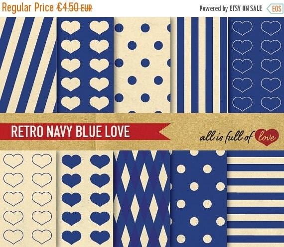 80% OFF Retro Digital Paper Pack NAVY BLUE Scrapbook patterns Valentines Digital Paper