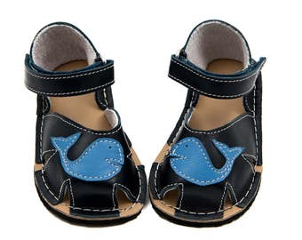 Dark blueToddler Leather Sandals,lining, Vibram sole, support barefoot walking, sizes EU 16 to 24 - US 2 to 7.5