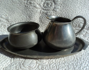 Pewter set from Holland including tray, creamer, and sugar bowl