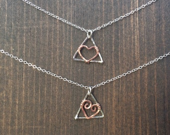 Heart of the Delta necklace  hammered in Sterling silver and copper