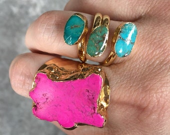 Turquoise Rings and Hot Pink Statement Rings