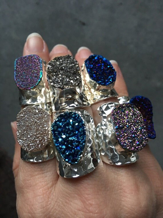 Druzy Rings, Silver Druzy Rings, Druzy jewelry, Statement Rings