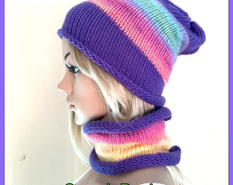Womens teens Hat scarf Set Designer hand knit slouch beanie cowl Irish aran winter man set xmas gift dread tam girls purple hippy rainbow