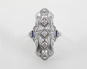 Art Deco Sterling Silver Ring with Simulated Diamonds and Sapphires