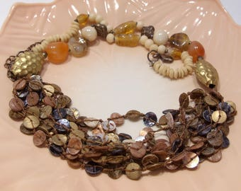 Brown and Cream Glass, Bone and Mother of Pearl Bead Necklace