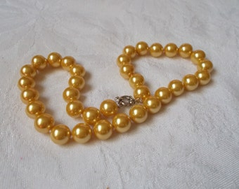 Stunning Beautiful Colorful Pearl Necklace-Golden Yellow-12M-N1856