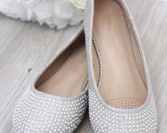 SALE!!!  White Pearls Ballet Flats for flower girls, princess, and formal occasions