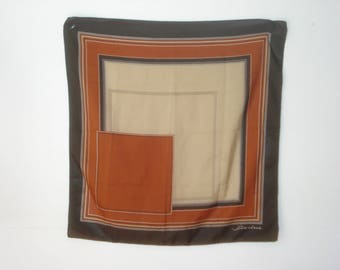 Vintage Rust and  Brown Scarf - Patterned Square Scarves - Womens Hair Accessories 1970s