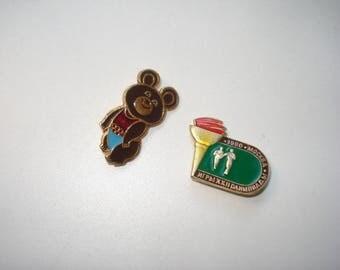 Vintage Olympics 1980 Moscow Pins - Misha the Bear - Sports Memorabilia Souvenirs 1980s
