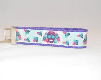 Keychain Wristlet Made With Sugar Skull Inspired Ribbon