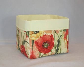 Light Yellow Fabric Basket Made With Poppy Inspired Fabric For Storage Or Gift Giving