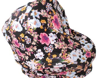Stretchy Carseat Cover and Nursing Poncho all in one - Full Coverage Nursing Cover Black Floral Hold Me Close