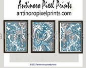 Art Paisley Graphic Ikat Teals Greys White Wall Art Picture  - Set includes (3) - 11x14 Prints (UNFRAMED) #491980164