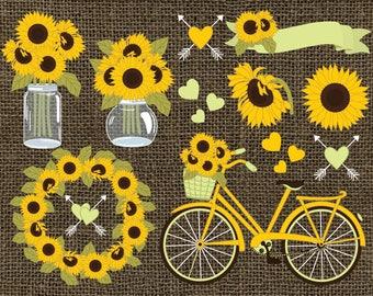 Sunflowers Clipart - Vector Sunflowers Clipart, Rustic Clipart, Sunflower Wreath, Burlap Clipart, Vector Sunflower Clip Art