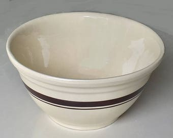 Free Shipping, Vintage USA Ovenware Pottery Bowl, farmhouse stoneware mixing bowl bread dough, cream and brown striped buffet bowl 1.5 gal