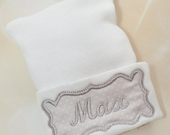 Baby Boy Newborn Hospital Hat Personalized White Newborn Baby Boy Hospital Hat with Embroidery Frame