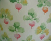 "Vintage Bed Sheet Set,  Twin Bed Size,  Divine ""Radish"" Print, 1 Flat Sheet, 1 Fitted Sheet, 1 Pillowslip, Cottage Chic, Shabby Cottage"