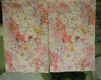 Vintage Pillowslips, Standard Bed Size, Pair of Pillowslips, Floral Print, Pastel Multi-Color Flowers, Perfect for Mix and Match