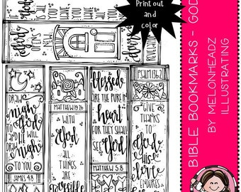 Bible Bookmarks clip art - Printable - God