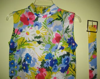 JERRIE LURIE DRESS Long Floral Maxi Colorful Bright Flowers Sleeveless Spring Elegant Drama