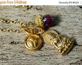 Buddha Necklace, Ruby Necklace, Charm Necklace, Yoga Necklace, Gold Necklace, Birthstone Necklace, Boho Necklace, Simple Necklace, Yoga
