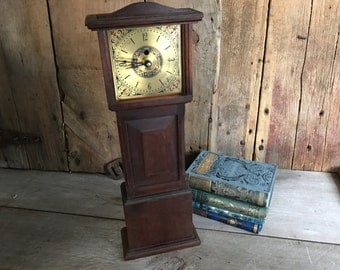 Miniature Grandfather Clock, English Wood Mantel Clock, Dollhouse Miniature Clock Tower