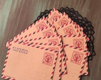 """Mini Kraft Envelopes / 10 Mini Air Mail Par Avion Envelopes 3"""" x 4"""" For Altered Art, Mixed Media, Mail Art, Altered Art, Journals, Mail Art"""