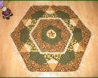 Tree Skirt Quilt Golden Pears Christmas Quilted 28