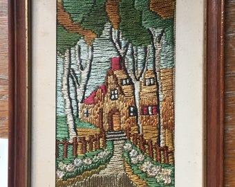 small vintage framed Crewel cottage and Pastoral