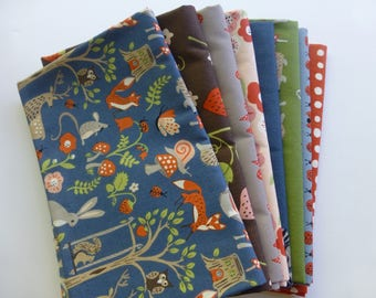 Organic cotton poplin, Monaluna, Cottage Garden 8 Fat Quarters