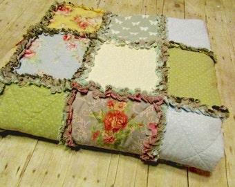 Custom Made Rag Quilt - Flowers & Butterflies