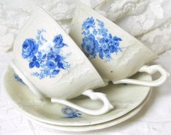 SALE -set of 2 vintage blue floral teacups vintage tea cups and saucers dutch floral tea cups porcelain tea cups vintage blue 954