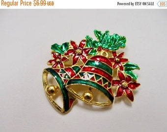 On Sale Enameled Christmas Bells and Poinsettia Flower Pin Item K # 2470