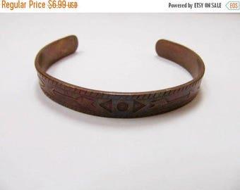 On Sale Vintage Solid Copper Stamped Cuff Bracelet Item K # 1467