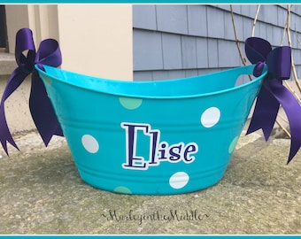 Easter Basket with Name and Polka Dots - Handy 12 inch Oval Tub