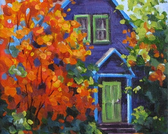 Fall in the Neighborhood - Original Colorful Portland Homes Painting
