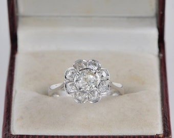 Art Deco 2.20 Ct old cut diamonds stunnning cluster ring