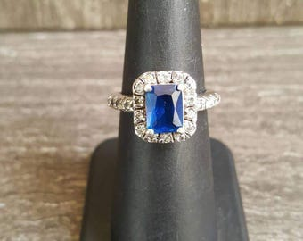 simulated sapphire and CZ sterling silver engagement ring. SIZE 6