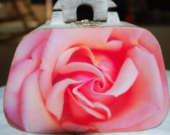 wooden photo purse box, soft pink rose photograph