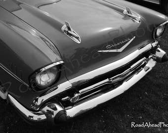 1957 Chevy, classic car photography 8 x 10 matted photo black and white, retro