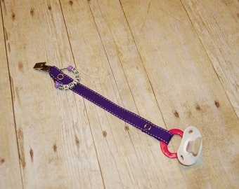 Pacifier Clip, Royal Purple with Lilac Saddle Stitch, Personalization Available, Ready to Ship, Free USA Shipping